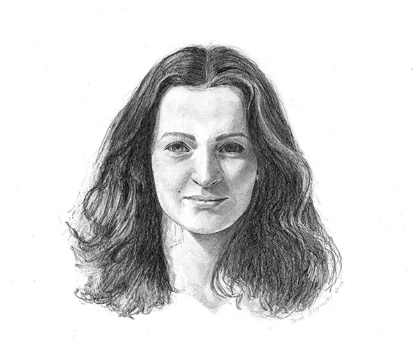 Graphic drawing of Renée by Renée Alexander
